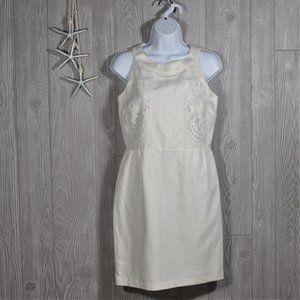 LOFT Laser Cut Floral White Dress Size 0
